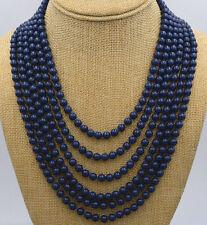 "Charming 8mm blue deep blue lapis lazuli beads necklace 120"""