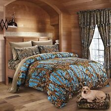 7PC QUEEN POWDER BLUE CAMO COMFORTER WITH NATURAL SHEETS MICROFIBER HUNTER WOODS