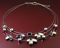 MAJIQUE LONDON 3 TIER SILVER MEMORY WIRE & CRYSTAL SET SILVER FLOWER NECKLACE.