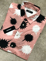 """DIESEL MEN'S PINK """"S-WILLIE"""" PATTERNED SLIM FIT S/S SHIRT TOP - M & L - NEW TAGS"""