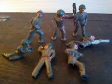 Lot of 7 Vintage Cast Lead Toy Soldiers Army Men Damaged Metal WW2 WWII