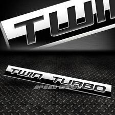 METAL GRILL TRUNK EMBLEM DECAL LOGO TRIM BADGE POLISH BLACK TEXT TWIN TURBO