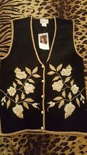 Jaclyn Smith Vest Black and Gold Size M NEW W /TAG