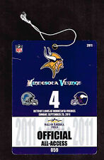 2011  MINNESOTA VIKINGS  vs  DETROIT LIONS  PRESS PASS Ticket