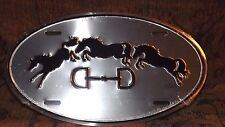 New Equestrian Horse Licence Plate Metal Oval 3 Horse