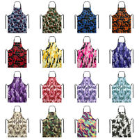 Camouflage Waterproof Bib Apron with Pocket for Men Women Cooking Kitchen BBQ