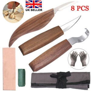 8PCS Wood Carving Chisel Knife Kit Woodworking Whittling Cutter Gouges Tools Set