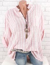 Bluse Tunika Longbluse Streifen Damen Fischerhemd Leinen Optik rosa 42 44 46 48