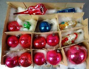 Antiker Weihnachtsschmuck  Lauscha 15 Stück Bunte Glaskugeln Nikolaus Glocke