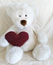 Russ Berrie Bear Hugs White Sitting Teddy Bear 12 Inches Tall Red Heart #7093