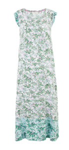 EX M&S MINT GREEN FLORAL CONTRAST BORDER LONG NIGHTDRESS NEW