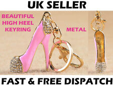 Pink Diamante Metal 3D High Heel Shoe Pump Key Ring Key Chain Charm Women Gift