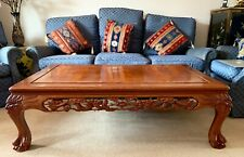 More details for vintage large chinese furniture carved solid rosewood coffee table 49 x 29 ins