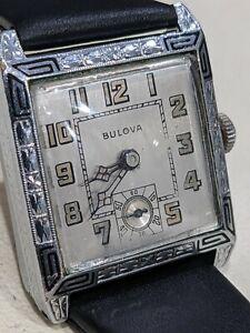 1929 Bulova FRANKLIN Enameled, Art Deco. 10AL Runs, Keeps Time Very Nice. Scarce