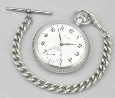 Rare Vintage UNICORN Military All Swiss Unitas Cal 431 Pocket Watch And Chain
