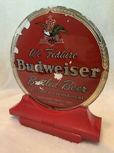 RARE 1930s WE FEATURE BUDWEISER BOTTLED BEER REVERSE GLASS BAR TAVERN SIGN READ