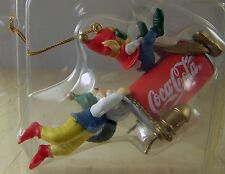 Coca Cola CHRISTMAS ORNAMENT BLAST OFF Elves on Coke Can 1994 in Box Bottling