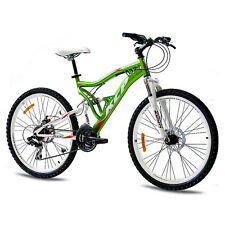 "26"" POLLICI MTB MOUNTAIN BIKE BICICLETTA RUOTA KCP Attack con 21 marce Shimano Verde Top VB"