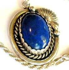 VINTAGE STERLING SILVER  BLUE GLASS STONE PENDANT NECKLACE ESTATE JEWELRY 14.1gr