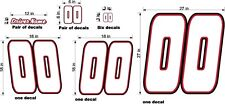 RACE CAR NUMBERS & NAME CUSTOM  WHITE RED BLACK BIG SET DIECUT VINYL NEW!