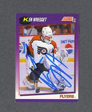 Ken Wregget signed Flyers 1991 Score hockey card