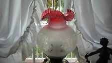 """GWTW 8 1/2"""" HGHT CRANBERRY TINTED SCALLOPED ETCHED GLASS GLOBE LAMP 4"""" FITTER ki"""