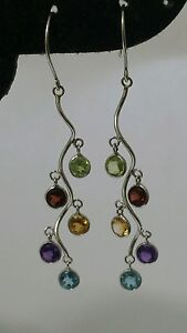14k White Gold Earrings with Color Stones 4mm Round