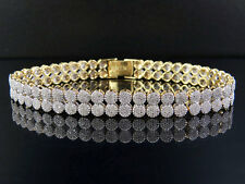 "Unisex 10K Yellow Gold Genuine Diamond 2 Row Cluster Bracelet 5 1/2 CT 8MM 8"""
