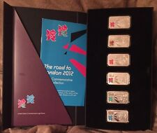Super Rare Road To London 2012 Olympics 6 X 1oz .999 Pure Silver Ingot Set Boxed