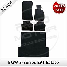 BMW 3-Series E91 Estate 2005-2013 Velcro Tailored Carpet Car & Boot Mats BLACK