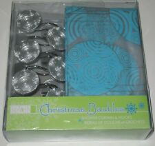 Christmas Ornaments Shower Curtain Turquoise Blue Hooks by Splash Home NEW