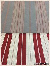 Edinburgh Weavers ELLA Stripe Slub Linen Fabric, Upholstery/Curtains Red+Aqua
