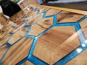 Custom Walnut Hexagon Epoxy, Honeycomb Epoxy Dining Table Decorate Made to Order