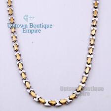 "18"" MEN Stainless Steel HEAVY 8mm Gold Silver Interlock Bones Chain Necklace 05"