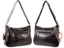 LADIES  patchwork leather handbag shoulder bag black travel CABIN SIZE