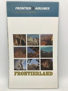 1969 FRONTIER AIRLINES FRONTIERLAND Giant US Fold-Out Route Map Downtown Vegas