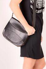 vintage black leather croc pattern embossed leather satchel shoulder bag