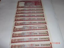 INDIA PAPER MONEY - 10 X RS 2/- OLD  NOTES - S.VENKITARAMANAN -RARE- B-23 # AA14