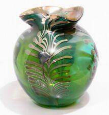 Vintage Art Nouveau Glass Round Vase Gold Swirls Leaf Pattern Dark Green Globe