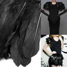 2m Black Goose Feather Cloth Trimming Sewing Craft Ribbon Collar Shawels Fringe