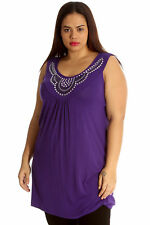 Womens Top Ladies Stud Neck Tunic Sleeveless Vest Summer Plus Size Nouvelle Size 16 Purple