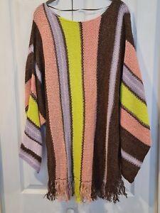 Stunning New Free People Striped Tassel Knit Poncho ~ Linen Blend UK 12 14