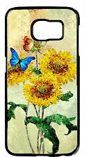 Sunflowers Butterflys Art Black Case Samsung Galaxy&Note Rubber TPU/Hard Cover