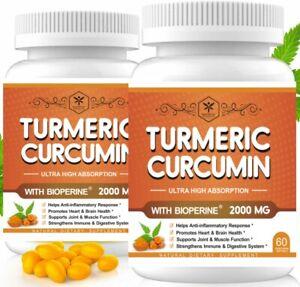 (2 Pack) Turmeric & Bioperine Capsules with Hemp Oil