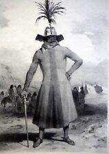 DUMONT D'URVILLE - PATAGONIE : CHEF de GUERRE. Litho originale de LEBRETON.