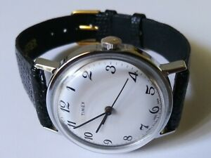 Vintage Timex Mercury Wind Up Mechanical Watch 16052-10478 w/Leather Band