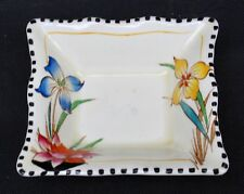 Vintage Ridgways Pottery England Iris Flowers Royal Pin Tray Semi Porcelain