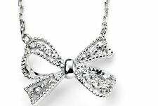 "Silver Cubic Zirconia Bow Necklace, 16""-18"", Elements Silver, 925, N3606C"