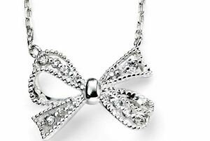"""Silver Cubic Zirconia Bow Necklace, 16""""-18"""", Elements Silver, 925, N3606C"""