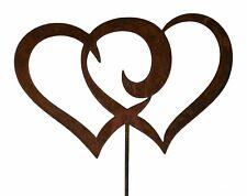 Herz zum Stecken Doppelherz Edelrost Gartendeko Gartenstecker Metall Rost